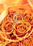 Χρυσά γαμήλια δαχτυλίδια στα πορτοκαλιά τριαντάφυλλα Στοκ Φωτογραφία