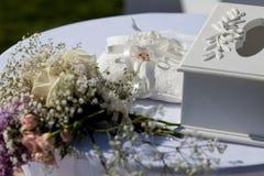 Χρυσά γαμήλια δαχτυλίδια στο μαξιλάρι υπαίθριο στοκ εικόνα