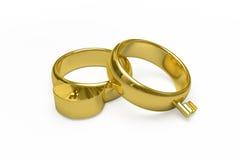 Χρυσά γαμήλια δαχτυλίδια Στοκ Φωτογραφίες