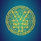 Χρυσά γεν, yuan σημάδι εικονιδίων χρημάτων στο polygonal χαμηλό πολυ υπόβαθρ στοκ φωτογραφία με δικαίωμα ελεύθερης χρήσης