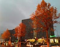 Χρυσά δέντρα φθινοπώρου στο Arbat Στοκ εικόνα με δικαίωμα ελεύθερης χρήσης