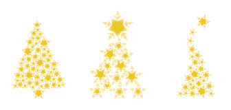 χρυσά δέντρα Χριστουγέννω&nu Στοκ Φωτογραφία