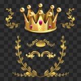 Χρυσά διανυσματικά εραλδικά στοιχεία Οι βασιλιάδες στέφουν, στεφάνι δαφνών διανυσματική απεικόνιση
