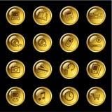 χρυσά εικονίδια ηλεκτρ&omicr Στοκ Εικόνα