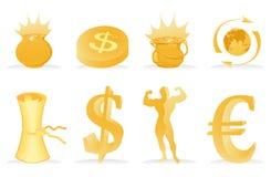 χρυσά εικονίδια Στοκ Εικόνα