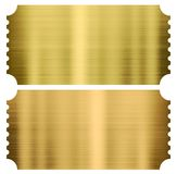 Χρυσά εισιτήρια κινηματογράφων ή θεάτρων καθορισμένα απομονωμένα Στοκ Φωτογραφία