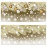 Χρυσά εμβλήματα καλής χρονιάς & Χαρούμενα Χριστούγεννας, διάνυσμα Στοκ εικόνες με δικαίωμα ελεύθερης χρήσης