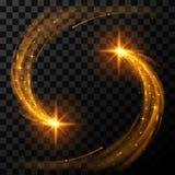 Χρυσά ελαφριά αστέρια ελεύθερη απεικόνιση δικαιώματος
