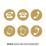 Χρυσά διανυσματικά τηλεφωνικά εικονίδια καθορισμένα Στοκ Φωτογραφίες