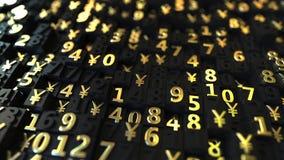 Χρυσά ιαπωνικά σύμβολα JPY γεν και αριθμοί στα μαύρα πιάτα, τρισδιάστατη απόδοση ελεύθερη απεικόνιση δικαιώματος