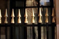 Χρυσά κάγκελα φύλλων στους βασιλικούς κήπους Palais arcade στο Παρίσι Στοκ φωτογραφία με δικαίωμα ελεύθερης χρήσης