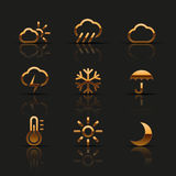 Χρυσά καιρικά εικονίδια καθορισμένα Στοκ εικόνα με δικαίωμα ελεύθερης χρήσης