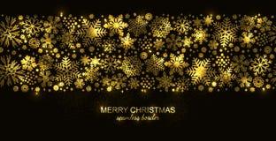 Χρυσά και μαύρα άνευ ραφής snowflake σύνορα, Χριστούγεννα ελεύθερη απεικόνιση δικαιώματος