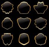 Χρυσά και μαύρα εκλεκτής ποιότητας πλαίσια - σύνολο Στοκ εικόνα με δικαίωμα ελεύθερης χρήσης