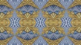 Χρυσά και μπλε αφηρημένα συμμετρικά υπόβαθρα για την εκτύπωση clo Στοκ Φωτογραφίες