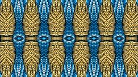 Χρυσά και μπλε αφηρημένα συμμετρικά υπόβαθρα για την εκτύπωση clo Στοκ εικόνες με δικαίωμα ελεύθερης χρήσης