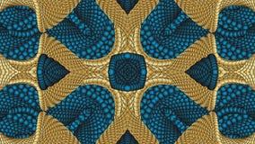 Χρυσά και μπλε αφηρημένα συμμετρικά υπόβαθρα για την εκτύπωση clo Στοκ Εικόνα