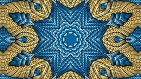 Χρυσά και μπλε αφηρημένα συμμετρικά υπόβαθρα για την εκτύπωση clo Στοκ Εικόνες