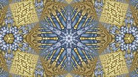 Χρυσά και μπλε αφηρημένα συμμετρικά υπόβαθρα για την εκτύπωση clo Στοκ Φωτογραφία
