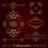 Χρυσά καλλιγραφικά στοιχεία για τη διακόσμηση σχεδίου και σελίδων - διανυσματικό σύνολο Στοκ Εικόνες