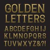 Χρυσά κεφαλαία γράμματα με τα tendrils Πηγή πολυτέλειας για το πλούσιο desig Στοκ Φωτογραφίες