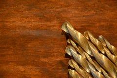 Χρυσά κομμάτια τρυπανιών στοκ φωτογραφίες