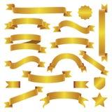 Χρυσά κορδέλλες και εμβλήματα καθορισμένες Στοκ φωτογραφίες με δικαίωμα ελεύθερης χρήσης