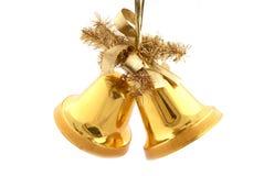 Χρυσά κουδούνια Χριστουγέννων Στοκ εικόνες με δικαίωμα ελεύθερης χρήσης