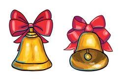 Χρυσά κουδούνια Χριστουγέννων που απομονώνονται στο άσπρο υπόβαθρο Στοκ Εικόνες
