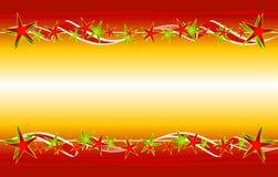 χρυσά κόκκινα αστέρια κορδελλών Χριστουγέννων Στοκ Εικόνες