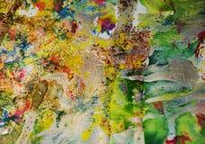 Χρυσά λαμπιρίζοντας κέρινα σημεία, υπόβαθρο μορφών αντίθεσης στα χρώματα κρητιδογραφιών Στοκ Εικόνες