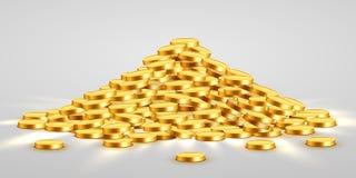 Χρυσά λαμπρά νομίσματα με τα σημάδια αστεριών στο σωρό Μεγάλη δέσμη των παλαιών χρημάτων μετάλλων Πολύτιμος ακριβός θησαυρός διανυσματική απεικόνιση