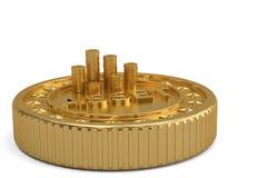 Χρυσά μεγάλα νόμισμα και νομίσματα προτερημάτων που απομονώνονται στο άσπρο υπόβαθρο τρισδιάστατο IL στοκ εικόνα με δικαίωμα ελεύθερης χρήσης