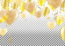 Χρυσά μπαλόνια με μορφή μιας καρδιάς σε ένα υπόβαθρο το shap διανυσματική απεικόνιση