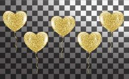 Χρυσά μπαλόνια με μορφή μιας καρδιάς σε ένα υπόβαθρο ελεύθερη απεικόνιση δικαιώματος