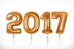 Χρυσά μπαλόνια παιχνιδιών Έτος 2017 διάνυσμα εικονιδίων εργαλείων Στοκ εικόνες με δικαίωμα ελεύθερης χρήσης