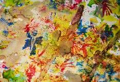 Χρυσά μπλε λαμπιρίζοντας κέρινα σημεία, υπόβαθρο μορφών αντίθεσης στα χρώματα κρητιδογραφιών Στοκ Φωτογραφία