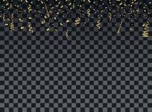 Χρυσά μόρια κομφετί με τις κορδέλλες Διανυσματική διακοσμητική διακόσμηση του νέου έτους, Χριστούγεννα, επέτειος, εορτασμοί ελεύθερη απεικόνιση δικαιώματος