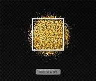Χρυσά μόρια με το πλαίσιο Διανυσματική απεικόνιση 10 eps Ο χρυσός ακτινοβολεί λάμποντας υπόβαθρο για τις ευχετήριες κάρτες Στοκ φωτογραφία με δικαίωμα ελεύθερης χρήσης
