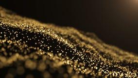 Χρυσά μόρια Φυσικά επιπλέοντα οργανικά μόρια στο όμορφο χαλαρώνοντας υπόβαθρο Ακτινοβολώντας μόρια με Bokeh ελεύθερη απεικόνιση δικαιώματος
