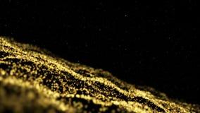 Χρυσά μόρια Φυσικά επιπλέοντα οργανικά μόρια στο όμορφο χαλαρώνοντας υπόβαθρο Ακτινοβολώντας μόρια με Bokeh απεικόνιση αποθεμάτων