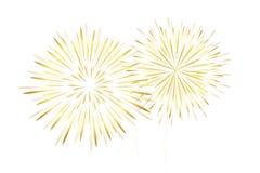 Χρυσά νέα πυροτεχνήματα έτους που απομονώνονται στο άσπρο υπόβαθρο ελεύθερη απεικόνιση δικαιώματος