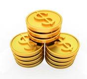 Χρυσά νομίσματα δολαρίων Στοκ Εικόνα