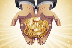 Χρυσά νομίσματα εκμετάλλευσης χεριών επιχειρηματία Στοκ Φωτογραφίες