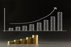 Χρυσά νομίσματα με το οικονομικό διάγραμμα Στοκ εικόνες με δικαίωμα ελεύθερης χρήσης
