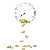 Χρυσά νομίσματα που πέφτουν από το ρολόι που απεικονίζει την έννοια Στοκ Εικόνες