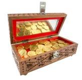 Χρυσά νομίσματα σε ένα στήθος Στοκ εικόνα με δικαίωμα ελεύθερης χρήσης