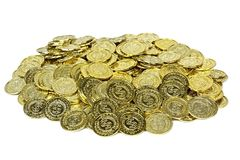 Χρυσά νομίσματα σε μια σακούλα βελούδου στοκ φωτογραφίες