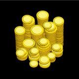 Χρυσά νομίσματα στο Μαύρο Στοκ Εικόνες