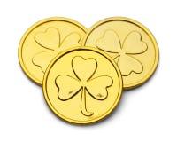 Χρυσά νομίσματα τριφυλλιού Leprechaun Στοκ φωτογραφίες με δικαίωμα ελεύθερης χρήσης